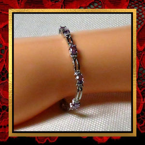 Purple Amethyst Gemstone Bracelet #JWL-006